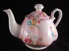 GRACIE CHINA 28 OZ. FOOTED TEAPOT FLOWERS ON PINK GOLD TRIM NEW COLORFUL