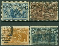 USA : 1893. Scott #230, 34, 39, 40 Used. All Very Fresh w/small faults. Cat $310