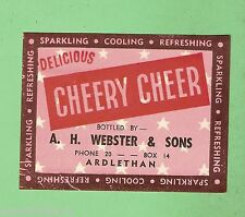 #D6. EARLY WEBSTER'S CORDIAL LABEL FROM  ARDLETHAN NSW