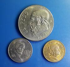 Lot 3 Coin Mexico 5 20 Centavos 1 Peso 1971 1974