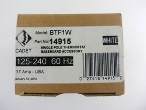 White Baseboard Heater Thermostat Control BTF1W 14915 - Single Pole 125-240 17A