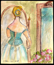 Lady in her Mirror 2014 WATERCOLOR PAINTING sketch drawing SIGNED impressionist