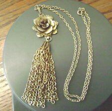 Fringe Gold Tone Pendant Necklace Signed Vintage Giovanni Layered Flower,