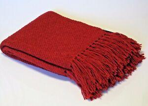 New Churchill Weavers Handwoven Cardinal Red Acrylic Boucle Throw Blanket