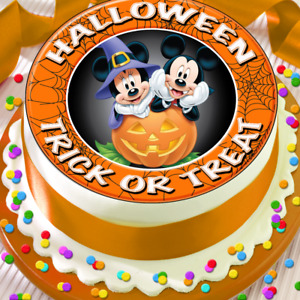 HALLOWEEN TRICK OR TREAT MICKEY & MINNIE 7.5 INCH EDIBLE CAKE TOPPER - HAL 13G