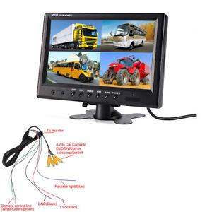 9-inch TFT LCD Car Quad Split Rear View Monitor 4 RCA Connectors Remote Control