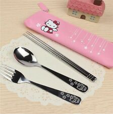 3pcs Lovely Cartoon Hellokitty Exquisite Carving Stainless Steel Tableware