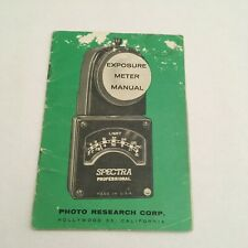 VINTAGE INSTRUCTIONS MANUAL FOR SPECTRA PROFESSIONAL EXPOSURE LIGHT METER