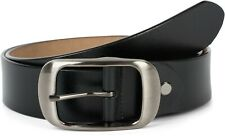 Plain real leather belt with a shiny finish and large buckle, adjustable, unise