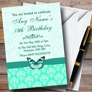 Mint Green Floral Butterfly Personalised Birthday Party Invitations
