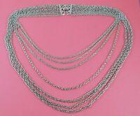 Vintage Signed Trifari Silver Tone Multi Chain Necklace Graduated Lengths Bib