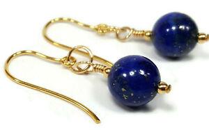 Lapis Lazuli Earrings in 9ct Gold, Drop Dangle Hook Earrings, Blue Lapis Beads