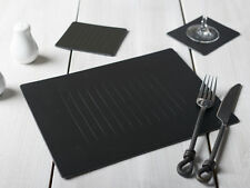Set of 4 BLACK EMBOSSED Leatherboard PLACEMATS & 4 COASTERS