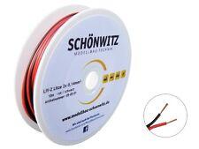 10m Zwillingslitze rot / schwarz 2x 0,14mm² Litze zweiadrig Kabel auf Spule