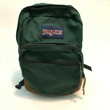 JanSport Originals Green Backpack Vintage Retro Suede Leather Bottom