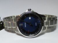 Seiko Mens Blue Dial Stainless Steel Dress Quartz Watch SUR255