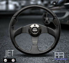 MOMO JET 320mm Tuning Steering Wheel + Horn - Black Leather with Carbon Ring
