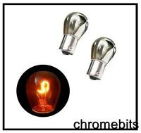 2x SILVER CHROME AMBER REAR INDICATOR BULBS 581 BAU15S PY21W TURN SIGNAL S25 12V