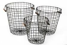 Vintage Round Black Metal Wire Multi Storage Toy Laundry Log Basket Wood Handles