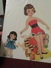VINTAGE PAPER DOLL LITTLE GIRL CINDY & OLDER SISITER?? NO BRAND FEW CLOTHES