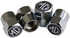 4 x Silver Chrome Tyre Valve Dust Caps (Fits MG) - BLACK
