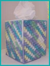 BLUE PURPLE YELLOW WHITE GREEN HANDMADE PLASTIC CANVAS TISSUE BOX COVER TOPPER