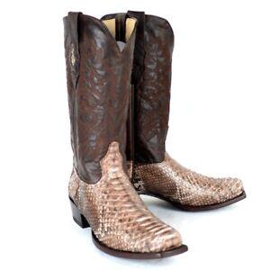 LOS ALTOS MEN BROWN GENUINE PYTHON SNAKE COWBOY 7 SQUARE TOE BOOT 585785 (D)