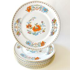 "SIX MAGNIFICENT ""VIEUX CHINE"" FRENCH LIMOGES DINNER PLATES ORANGE BLUE WHITE"