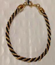 """Goldtone Cuff Bangle Bracelet 7"""" Handsome Rope Twisted Ebonytone &"""