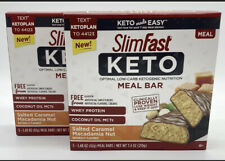 SlimFast Keto Meal Bar Salted Caramel Macadamia Nut 2 Boxes 3 Net Carbs, 10 Bars