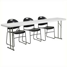 """Flash Furniture 4 Piece 96"""" x 18"""" Folding Table Set in White and Black"""