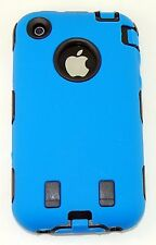 Dual Flex Hard Hybrid Gel Case for iPhone 3G / 3GS - Blue/Black