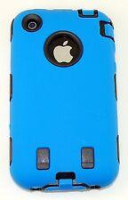 Dual Flex Hard Hybrid Gel Case for iPhone 3G / 3GS - Blue/Black