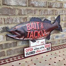 Bait & Tackle Bass Fish Metal Sign Man Cave Wall Art Cabin Rustic Shop Garage