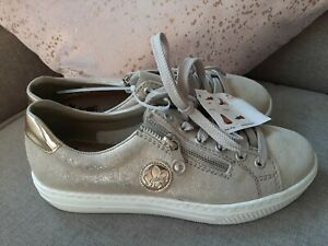 Rieker  beige gold casual Lace Up trainer sneaker Shoes UK 5 EUR 38