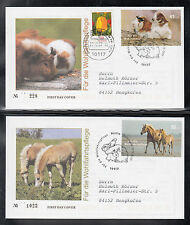 K003) Germany 2007 : Welfare of Pets: Guinea Pigs. Horses, Dogs, Rabbit of 4 FDC