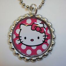 1 Beautiful HELLO KITTY POLKA DOTS Hot Pink Bottle Cap Necklace FLAT127
