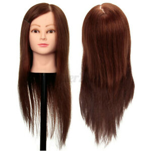 Mannequin Head Human Hair Synthetic Hairdresser Styling Training Doll + Clamp