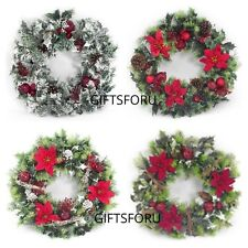 40cm Plastic Holly & Poinsettia Christmas Wreath Artificial 6 designs