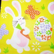 EASTER TABLECLOTH~Vinyl~Flannel Back~52x70 Oblong~BunnyEggs/Flower/Butterfly~New