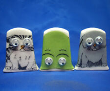 Birchcroft Thimbles -- Set of Three -- Goggles Animals ( with moving eyes )