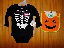 Girls Size 3-6 Months Black Long Sleeve Halloween Bodysuit W/Carter's Bib NWT