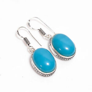 "Blue Onyx Gemstone Oval Vintage Handmade Jewelry Dangle Earrings 1.5"" UKE-1205"