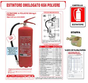 Estintore Kg 6 Polvere 34A 233BC + Staffa + Prima Verifica + CARTELLO ESTINTORE