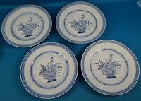 """Chinese Rice Eye White & Blue 10"""" Flower Dinner Plate Set of 4"""