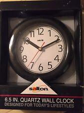 VTG Salton Wall Clock 6.5 in Quartz Black Time International Design Style NEW