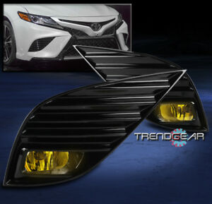For 2018-2020 Toyota Camry SE XSE Bumper Fog Lights Lamps Yellow w/Bezel+Harness