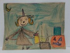 Childs Artwork Double sided Halloween crayon picture from the 1960s