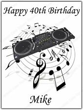 Personalised DJ Decks Music Notes Edible Icing Birthday Party Cake Topper