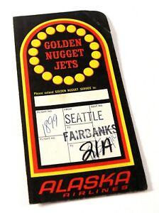 Vintage Alaska Airlines Golden Nugget Jets Advertising Ticket Folder Case